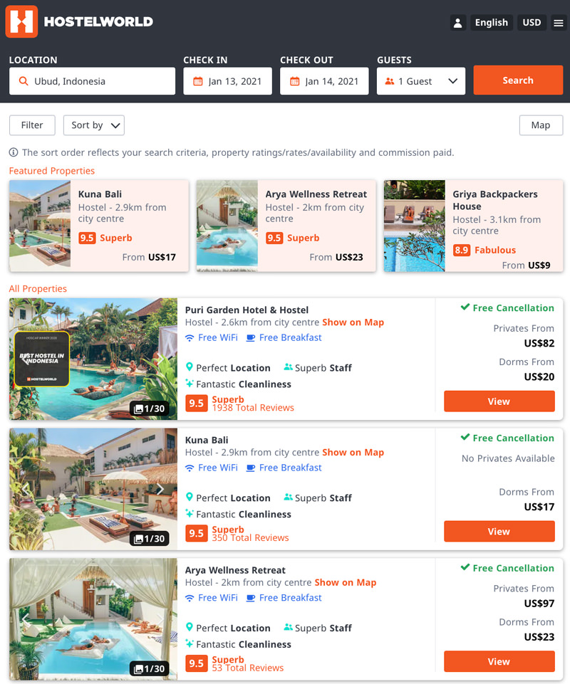 list of available hostels in Ubud, Bali, from Hostelworld website - screenshot