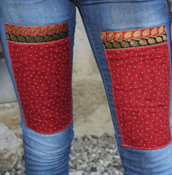 customised blue jeans red patches skinny fit 29 x 32
