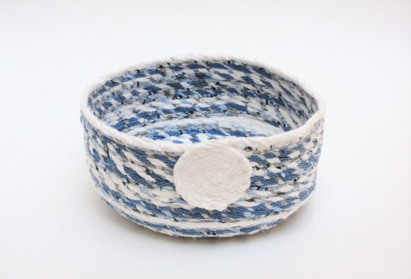 blue and white upcycled fabric twine basket
