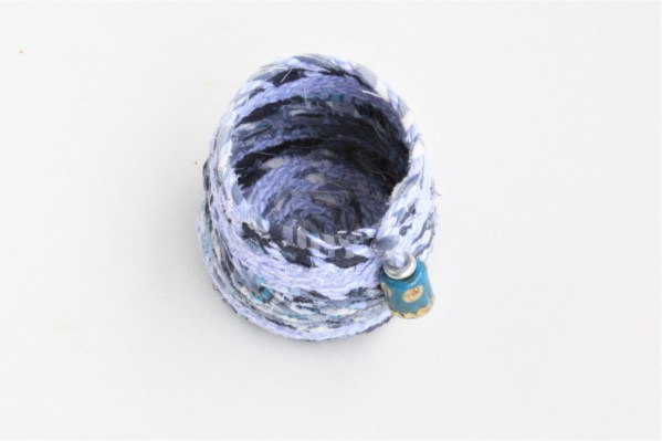 tiny blue recycled fabric basket bowl