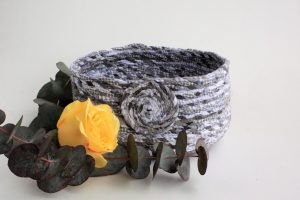 grey upcycled fabric basket bowl