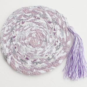 mauve tassel coaster drinks mat