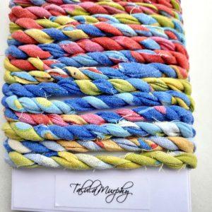 multicoloured fabric twine