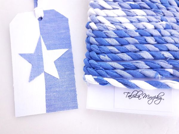 blue and white gift twine and tags