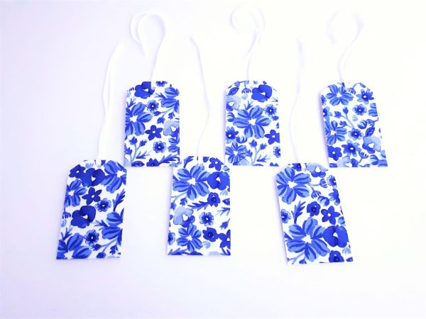 blue floral recycled fabric covered gift tags