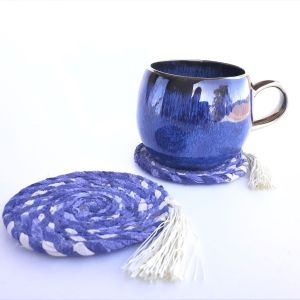 blue recycled fabric coasters drinks mats