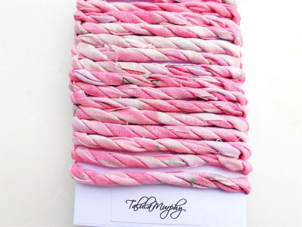 pink scrap fabric craft twine