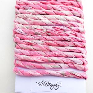 pink scrap fabric craft twine