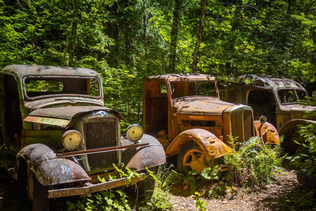 Abandoned Trucks on the Jawbone Flats Hiking Trail