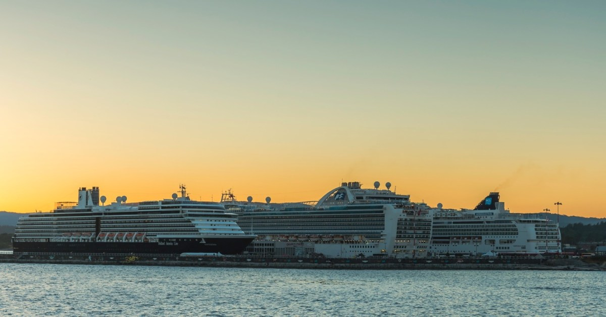 Cruise Ships under the Sunset