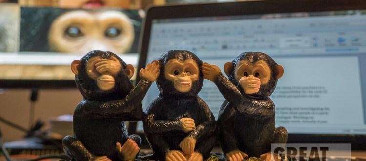 Hear no, See no, Say no, evil chimpanzees