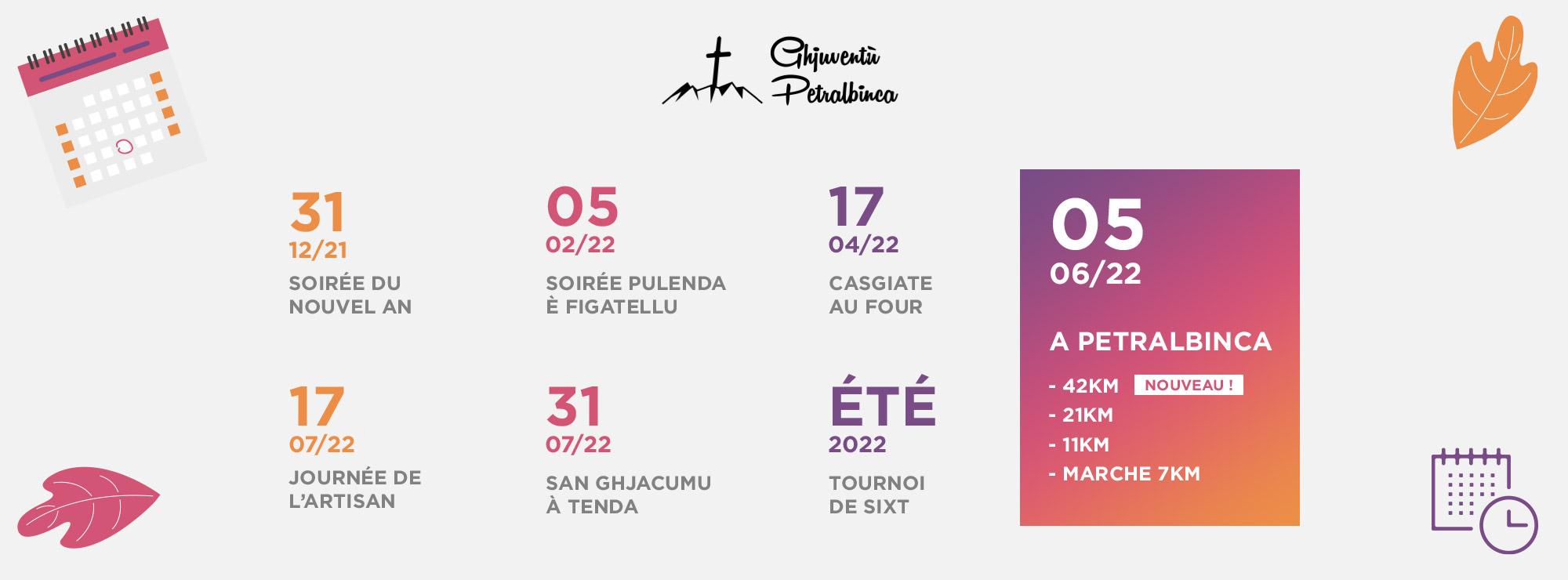 Calendrier évènements pietralba
