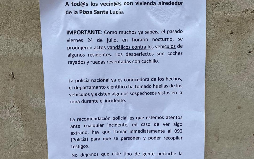 Folgado pide que se incremente la seguridad por las noches ante los actos vandálicos producidos en la Pl. Santa Lucía