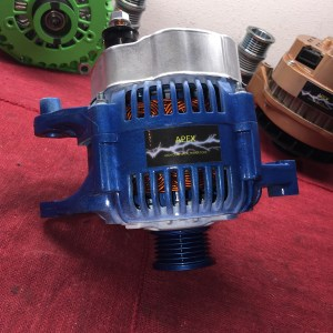 blue and white high output alternator