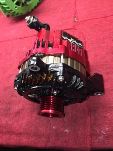 red gold and black high output alternator