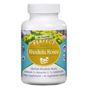 A bottle of Perfect Supplements Perfect Rhodiola Rosea.