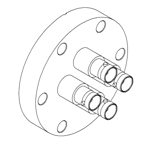 4 Pin Coaxial MHV Conflat Single-Ended Feedthrough