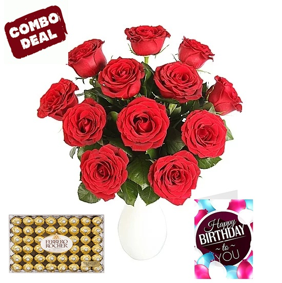 Send Red Roses Flowers Card Chocolate Combo To UK