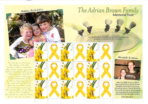 Adrian Brown Family Memorial Trust Souvenir Sheet
