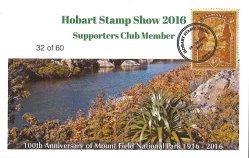 Hobart Stamp Show 2016 – Supporters Club Card