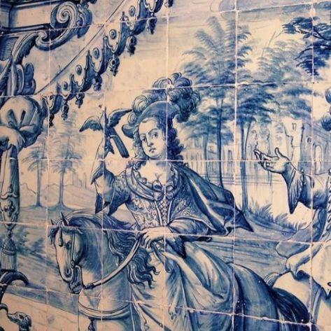 Painel de azulejos Português~alusivos à Falcoaria