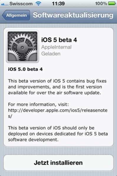 iOS 5 Softwareaktualisierung