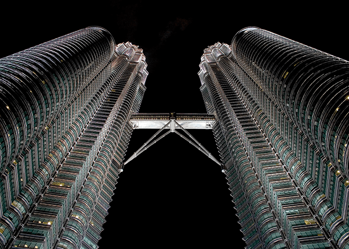 Petronas Towers Bridge, Kuala Lumpur, links the towers at levels 41 and 42, it facilitates day to day movement and functions as an escape route in case of emergencies.