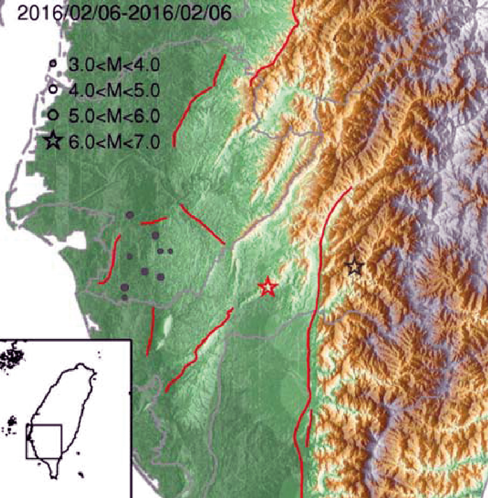 Location map, with the epicentre of the 2016 and 2010 earthquakes shown by the orange and black stars respectively; orange lines show mapped active faults.