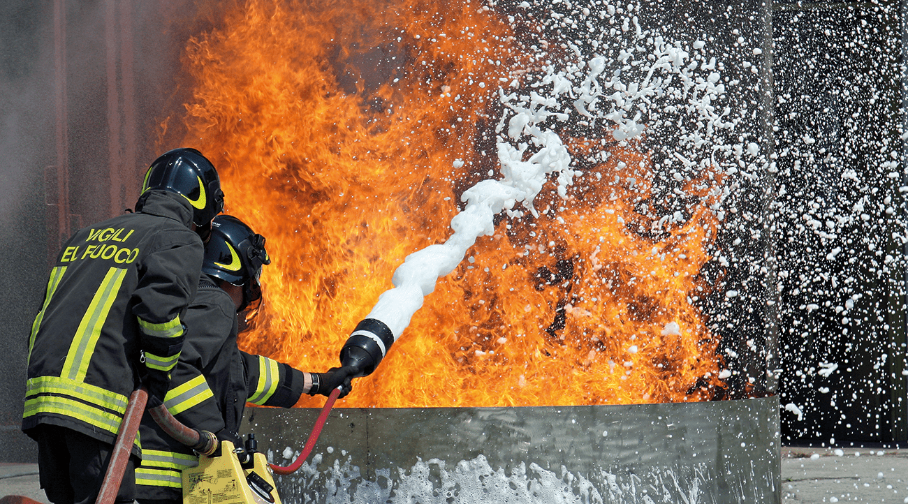 FireFighting Foam in use in an emergency spill situation.