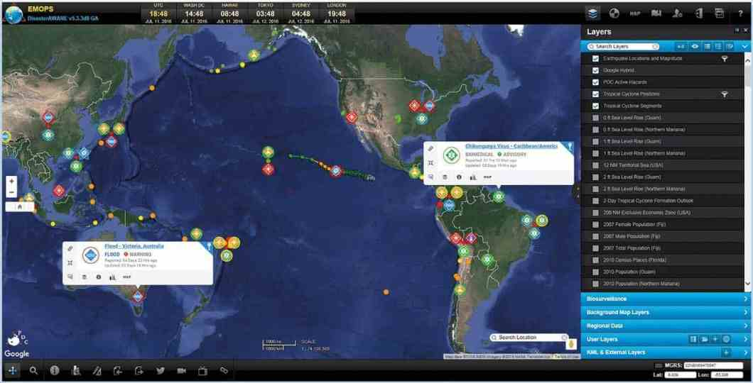 DisasterAWARE Emergency Operations (EMOPS) system on 11 July 2016 using a Google Hybrid basemap centered on the Pacific and displaying layers visualizing Earthquakes, Tropical Cyclones, and PDC Active Hazards.