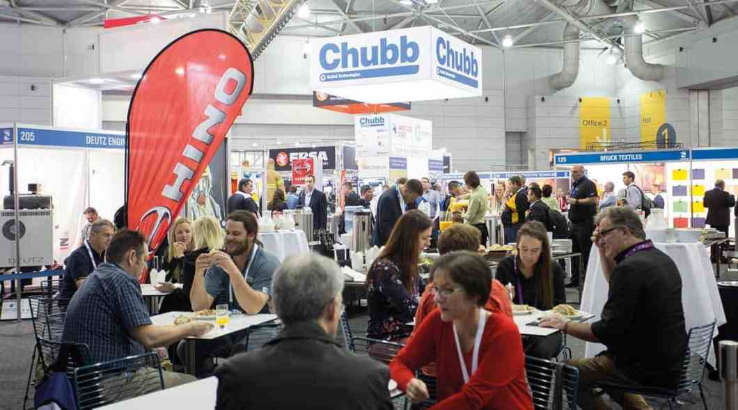 Some of the 2300 delegates enjoying lunch in the exhibition hall.