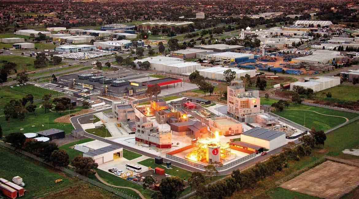 MFB's Victorian Emergency Management Training College lights up as the sun sets over the Melbourne suburb of Craigieburn.