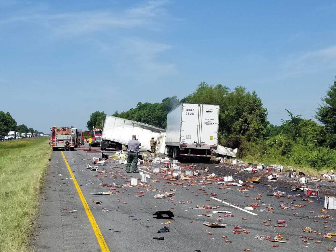 What is your size-up? An 18-wheeler accident involving several hundred gallons of alcohol.