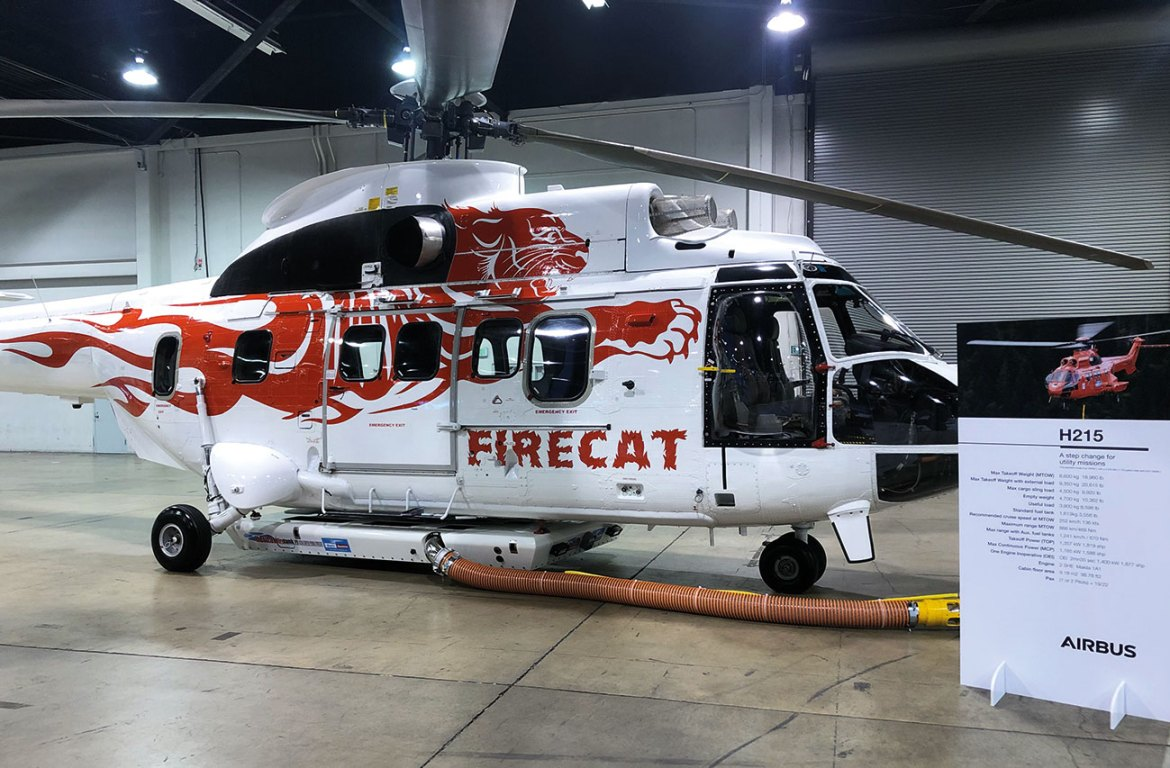 The Helitak FT4250 Super Puma tank displayed on the Airbus Helicopters Stand at Heli Expo Anaheim 2020.