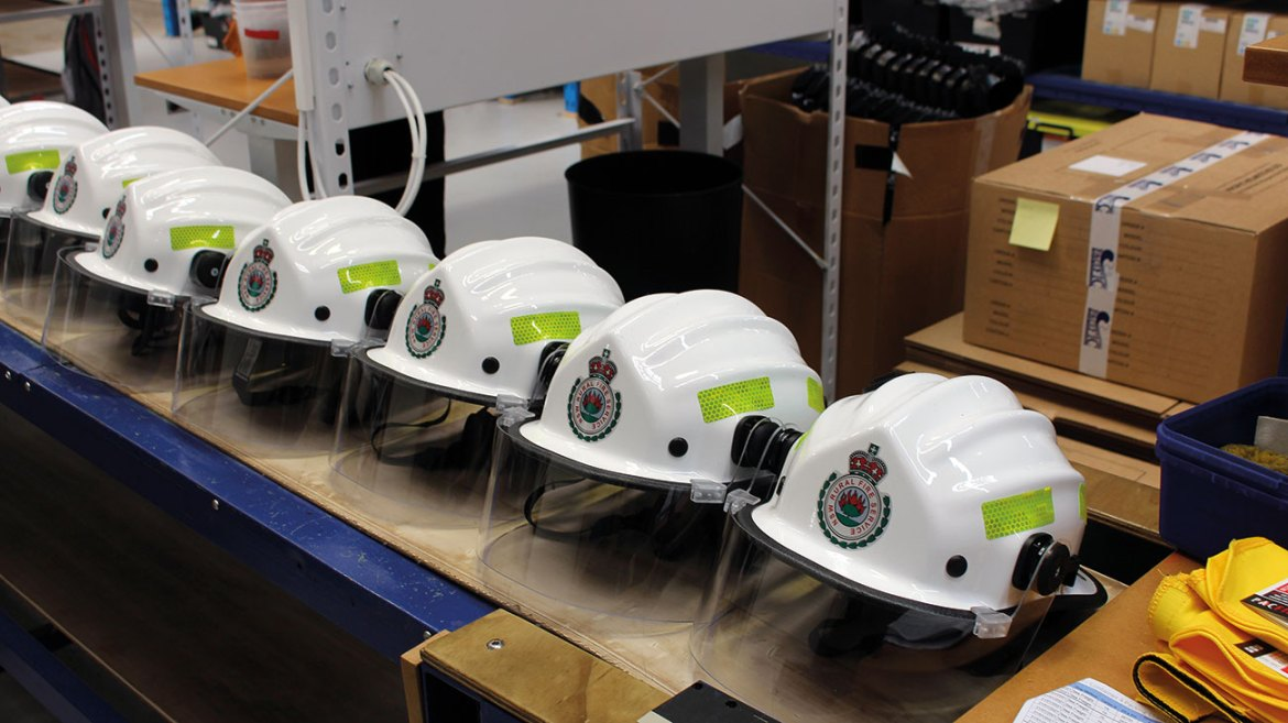 The NSW RFS BR9 wildland firefighting helmet on the production line at Pacific Helmets.