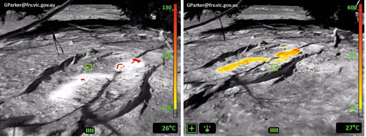 The image left is in standard mode sensor; the image right has the thermal threshold for colourisation manually set to contrast the full extent of the hot spot.