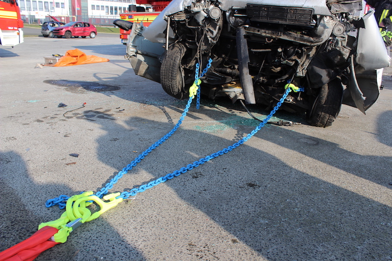 The rescue kits include chain slings, round slings, shackles, hooks and carrying cases for easy storage. (Crosby Group)