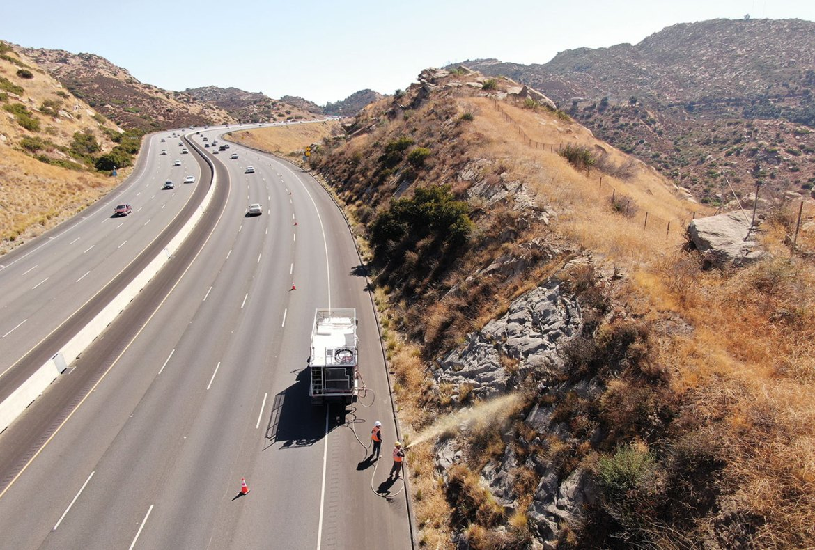Utility and transportation agencies are starting to apply long-term retardants along roadsides to prevent ignitions from vehicles, one of the greatest man-caused ignition sources.