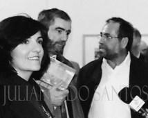 Los escritores Elvira Lindo y Muñoz Molina y el pintor Hervás