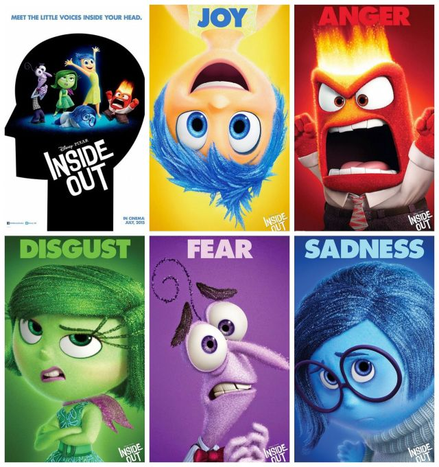 Pixar's core emotions in the film: Inside out