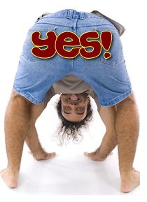Man showing tongue upside down .