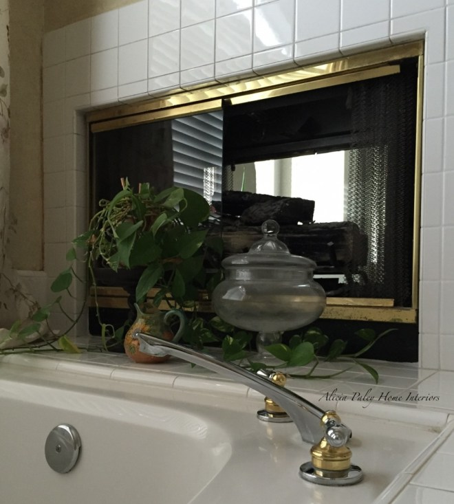 Master bathroom fireplace