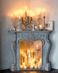 Mantle with candles