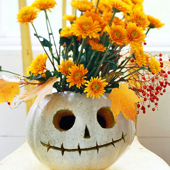 Fall Skull Flower Pumpkin