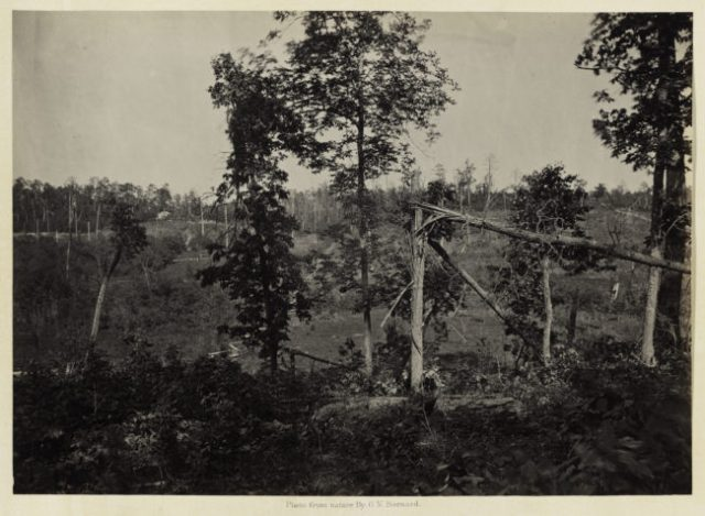 George N. Barnard, Battle Ground of Resaca, Georgia, No. 2, from Photographic Views of Sherman's Campaign, 1866; albumen print; 10 x 14 1/8 in. (25.4 x 35.88 cm); Promised gift of Paul Sack to the Sack Photographic Trust