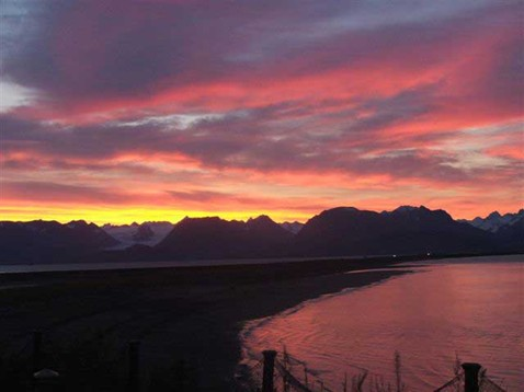 Sunrise View from the Ocean House Inn - Homer, Alaska