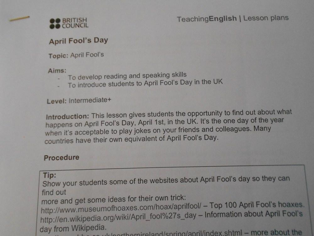 medium resolution of April Fool's Day pranks for students!   ELT inspired