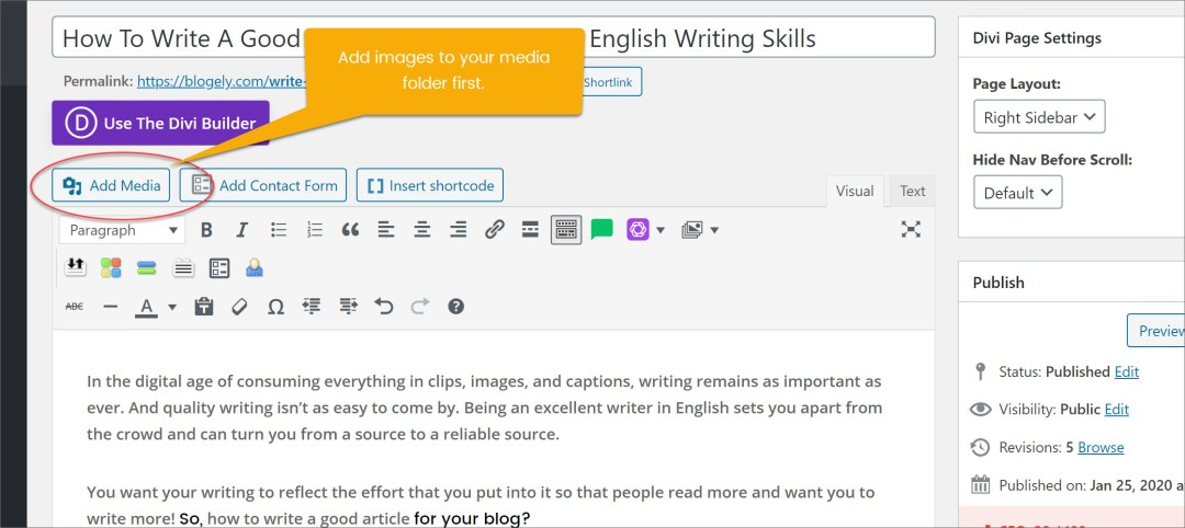 how to start writing a blog post in wordpress