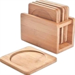 Bamboo Coaster Set with Bamboo Holder, Set of 6