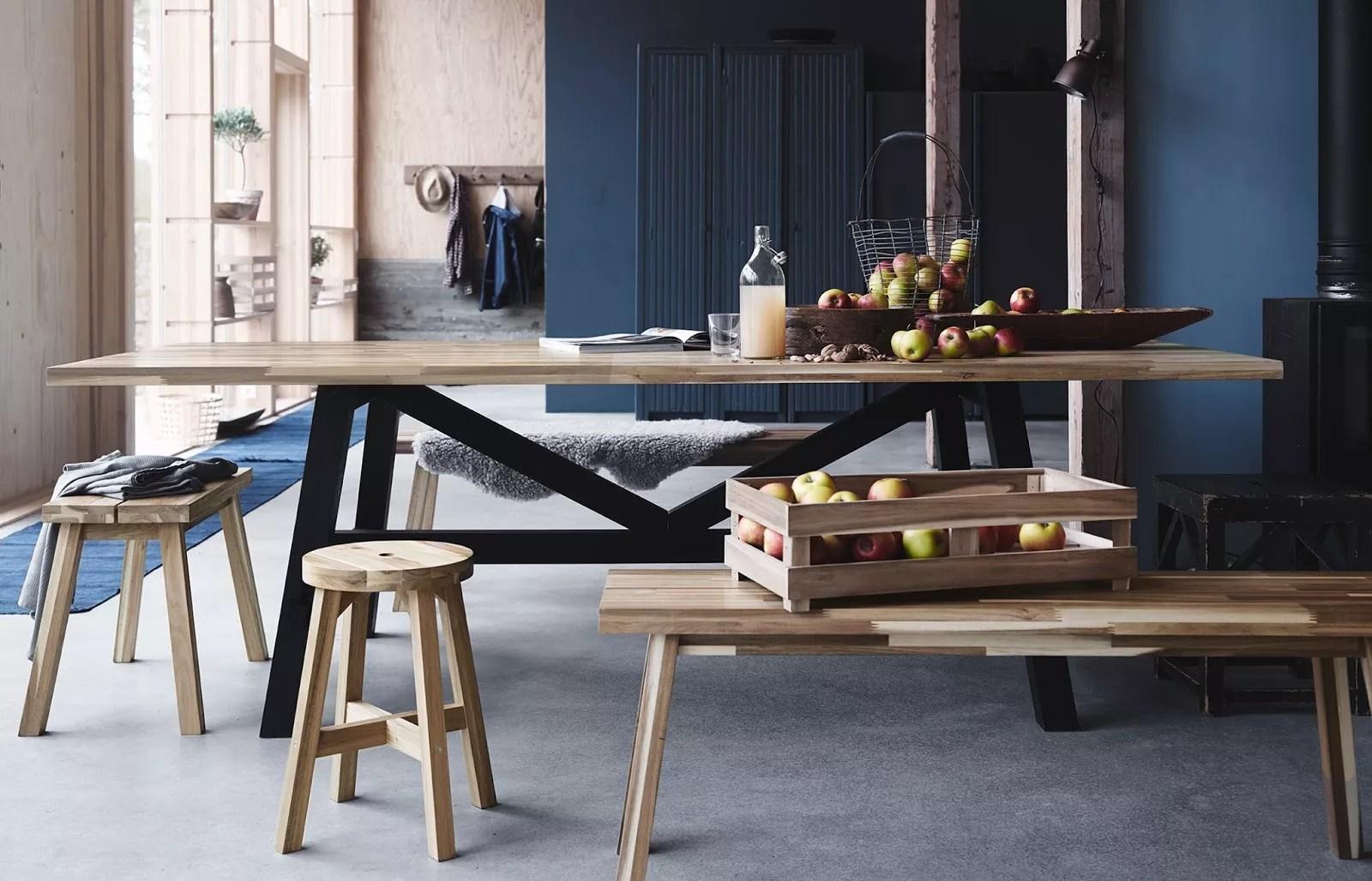 wooden folding table and chairs set chair ebay uk collection skogsta, ikea 2016 paris design week : présente sa nouvelle - photo 4 ...